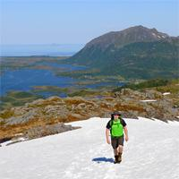 crossing a snowfield - Lofoten
